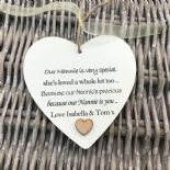 Shabby personalised Gift Chic Heart Plaque Special Nanny ~ Nana Or ANY NAME Gift - 233008501596